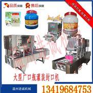 广口瓶装椰果颗粒自动填充旋盖机 进诚机械定制全自动旋盖机